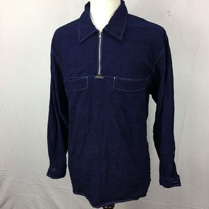 VTG Marithe Girbaud Blue Corduroy Pullover Shirt